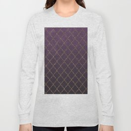 Elegant purple faux rose gold glitter quatrefoil Long Sleeve T-shirt