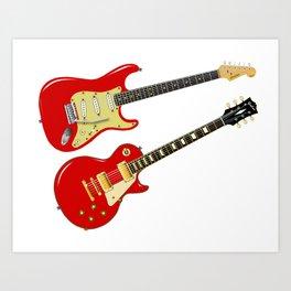Red Elecric Guitars Art Print