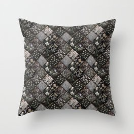 Faux Patchwork Quilting - Black Throw Pillow
