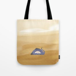 little dragon is sleeping in the sand illustration Tote Bag
