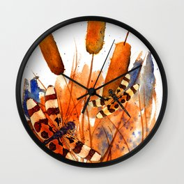 Banded Dragonflies and Cattails Wall Clock