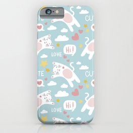 Doodle cat pattern with lettering iPhone Case