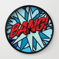 comic book Wall Clocks featuring Comic Book BANG! by The Image Zone