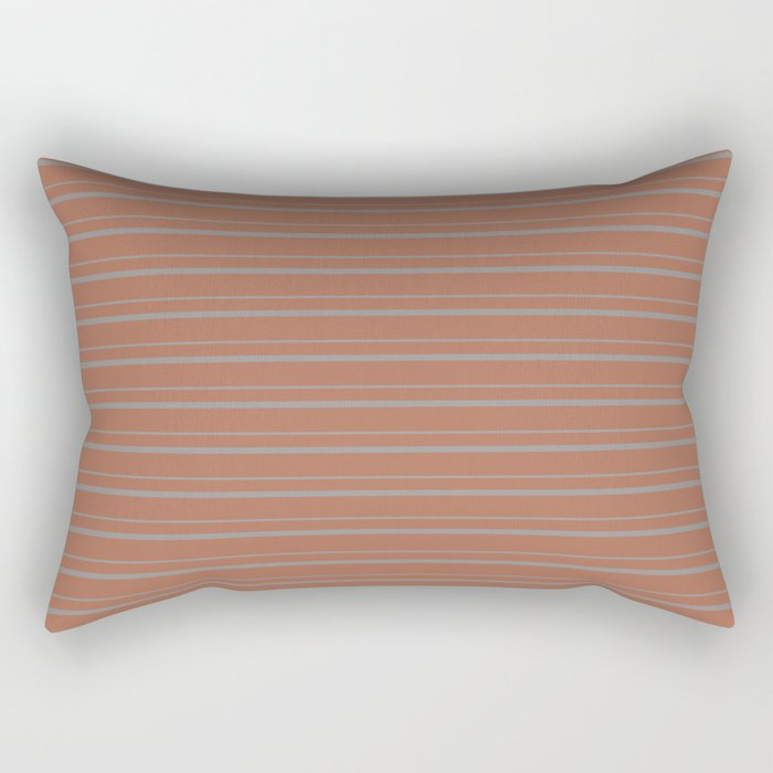 Sherwin Williams Slate Violet Gray SW9155 Horizontal Line Patterns 3 on Cavern Clay Warm Terra Cotta Rectangular Pillow