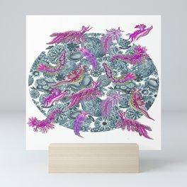 Ernst Haeckel Pink Hue Nudibranch Over Cerulean Sea Squirts Mini Art Print