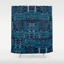 Dark Circuit Board Shower Curtain