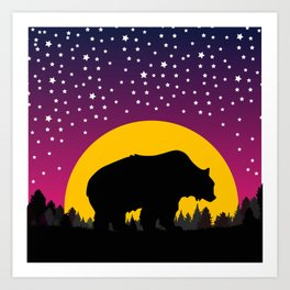 Bear Stars Moon Art Print