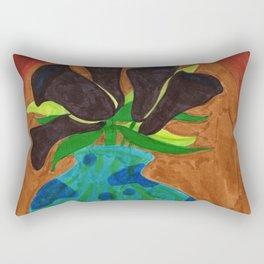 Black Calla Lilies in Blue Vase Rectangular Pillow