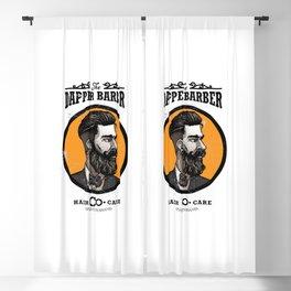 Barbershop Logo Template Blackout Curtain