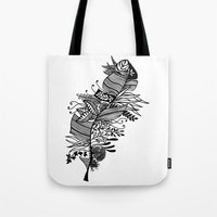 banana leaf Tote Bags featuring Banana Leaf Black & White Doodle Art by martywoodskk