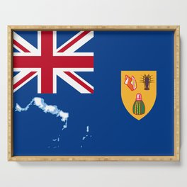 Turks and Caicos Islands TCI Flag with Island Maps Serving Tray