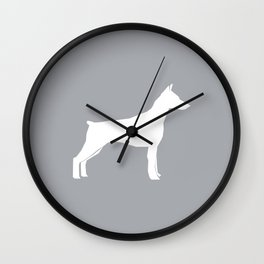Doberman Pinscher dog pattern grey and white minimal dog breed silhouette dog lover gifts Wall Clock