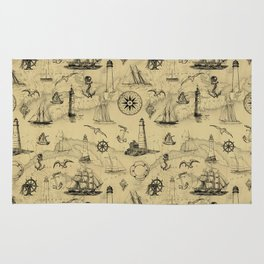 Old Map Background with Vintage Nautical Pattern Rug