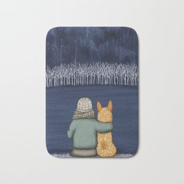 Love and Starlight with Red Heeler Bath Mat