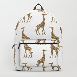 Gold Glitter Giraffe Pattern Backpack