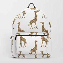 Gold Glitter Giraffe Pattern Backpack