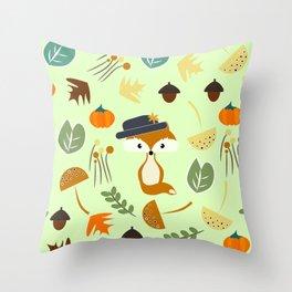 Cute fox in autumn Throw Pillow