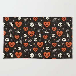 I Heart Halloween Pattern (Black) Rug