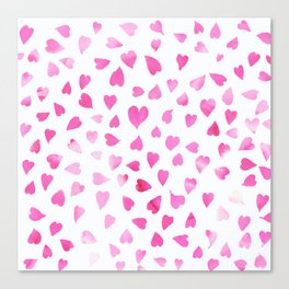 Blush pink hand painted watercolor valentine hearts Canvas Print