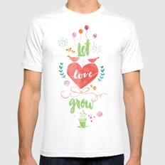 Let Love Grow SMALL White Mens Fitted Tee