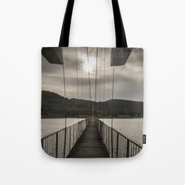 The rope bridge to the bulgarian village Lisicite art photography Tote Bag