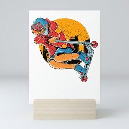 Cute & Funny Scooter Kid Riding Tricks Mini Art Print