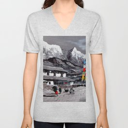 Panoramic View Of Everest Base Camp Unisex V-Neck
