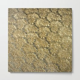 Vintage gold french grunge floral lace Metal Print