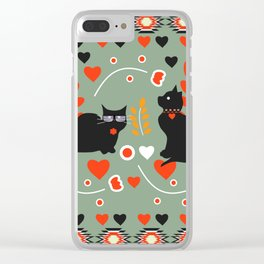 Romantic cats Clear iPhone Case