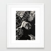 turtle Framed Art Prints featuring Turtle by Wellydog