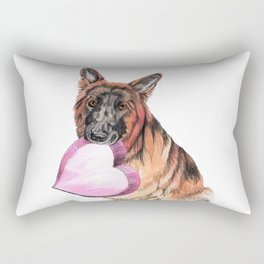 German Shepherd love , cute GSD dog watercolor with heart Rectangular Pillow