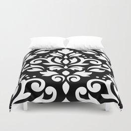 Scroll Damask Large Pattern White on Black Duvet Cover