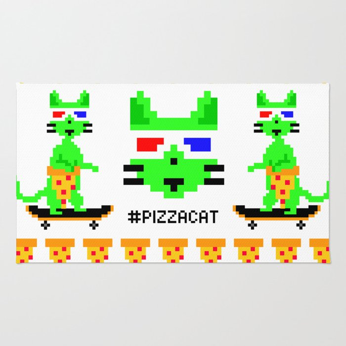 """Psychedelic Skateboarding Ugly Christmast Sweater Pixel Pizza Cat"", by Brock Springstead Rug"