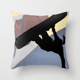 Snowboarding Betty Half Pipe Throw Pillow