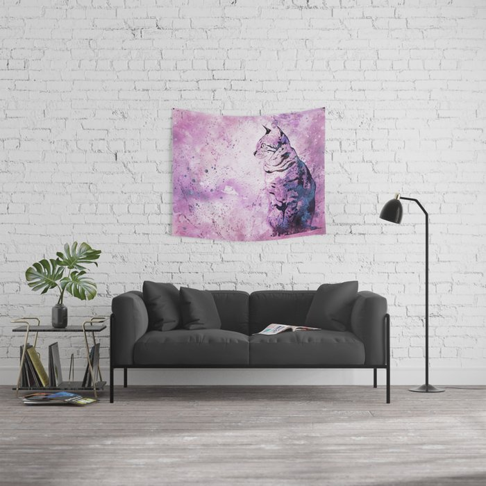 Pink Watercolor Cat Painting Wall Tapestry