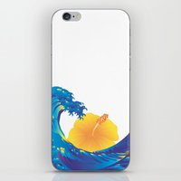 hokusai iPhone & iPod Skins featuring Hokusai Rainbow & Hibiscus_Y  by FACTORIE
