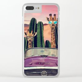 Giraffes are cool too Clear iPhone Case