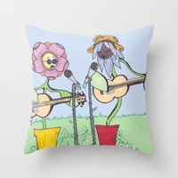 woodstock Throw Pillows featuring Woodstock Garden by Michele Baker