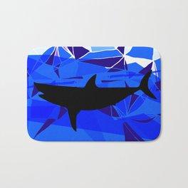 Shark art Geometric art Blue sea ocean art Triangles art Bath Mat