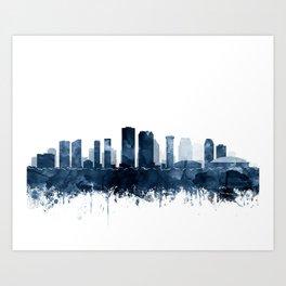 New Orleans Skyline Blue Watercolor Print by Zouzounio Art Art Print