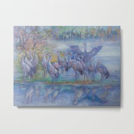 Wilde Birds in the forest lake Foggy morning Wildlife scene Autumn landscape pastel painting Metal Print
