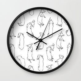Dachshund Sleep Study Pattern. Sketches of my pet dachshund's sleeping positions. Wall Clock