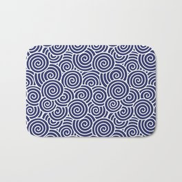 Chinese Spirals Pattern | Abstract Waves | Swirl Patterns | Circles and Swirls | Blue and White | Bath Mat