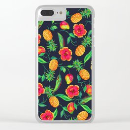Tropical fruit and flowers Clear iPhone Case