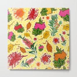 Australian Native Floral Print on Yellow Metal Print