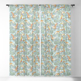 Oak Tree with Squirrels in Summer Sheer Curtain