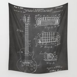 Gibson Guitar Patent - Les Paul Guitar Art - Black Chalkboard Wall Tapestry
