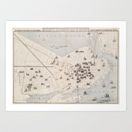 Vintage Boston Landmark Map (1871) Art Print
