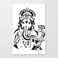 ganesh Canvas Prints featuring Ganesh by ShivaR