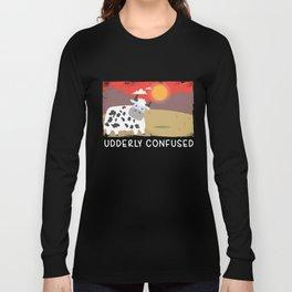 Cow Art for Women and Men Cattle Farmer Rancher Dark Long Sleeve T-shirt